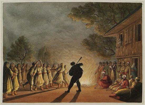 Osmanlı gravürü. dans eden Bulgar köylüleri