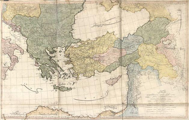 Anadolu ve Balkanları gösteren Osmanlı haritası - Cedid Atlas