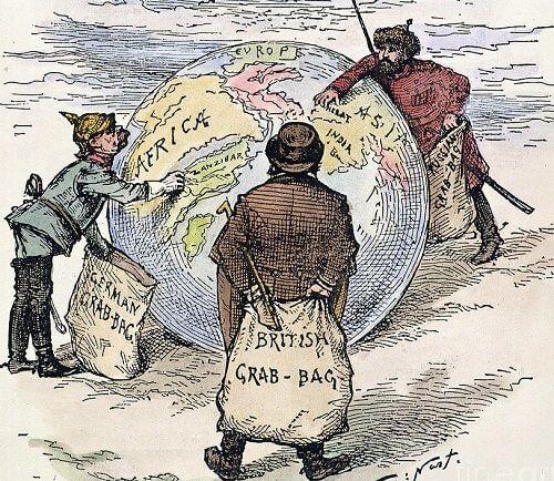 Sömürgecilik yarışını tasvir eden karikatür
